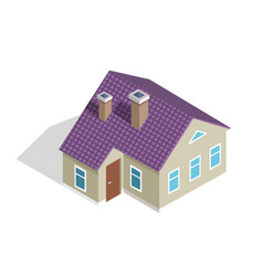 cottage two-storey house with roof entrance door vector image