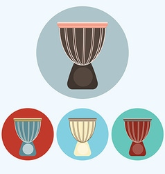 Djembe colorful icon set vector image
