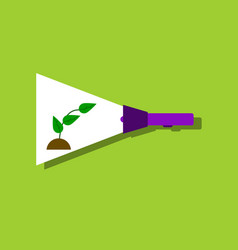 flat icon design collection flashlight and plant vector image