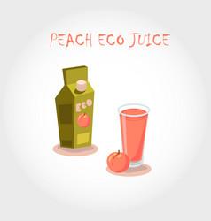 glass of bio fresh peach juice vector image