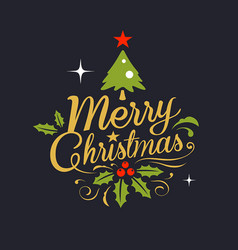 merry christmas lettering background vector image vector image