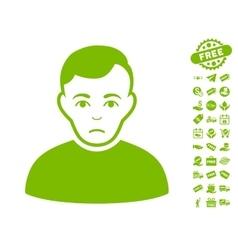 Sad Man Icon With Free Bonus vector image