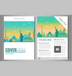 Travel brochure design with famous landmarks and vector