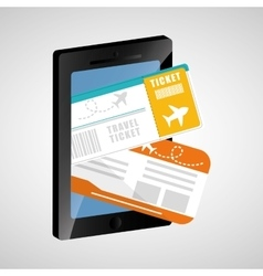 travel ticket mobile phone app vector image