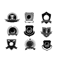 Golf sports emblems and symbols set vector image
