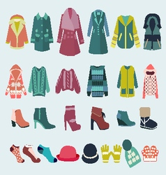 Set icon of winter clothes and accessories vector