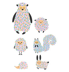 set of cartoon animals and birds stylized vector image