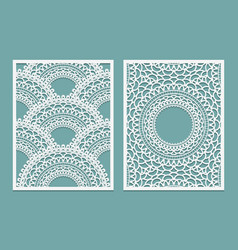 set of laser cut pattern template wood or paper vector image vector image