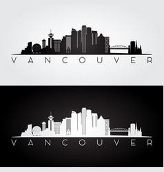 vancouver skyline and landmarks silhouette vector image