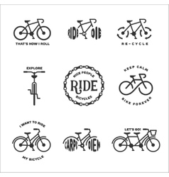 Bicycle related typography set vintage vector image vector image