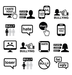 Cyberbullying icons set vector image