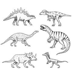 dinosaurs set triceratops barosaurus vector image vector image