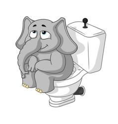 elephant sitting on the toilet cartoon vector image