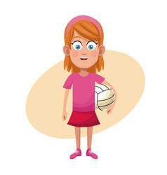 girl volleyball sport practice vector image vector image