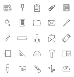 Stationery line icons on white background vector image vector image