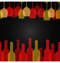 wine glass bottle art design background vector image vector image
