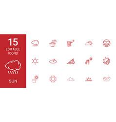 15 sun icons vector image