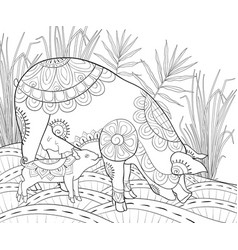 Adult coloring bookpage pigs family image vector