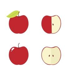 Apple core bitten half icons vector