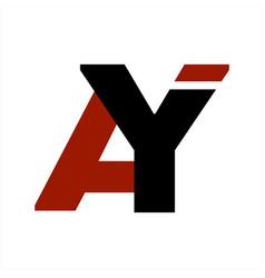 ay ya initials letter company logo and icon vector image
