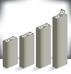 Bar graph made of dollar bills vector image