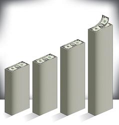 Bar graph made of dollar bills vector image vector image
