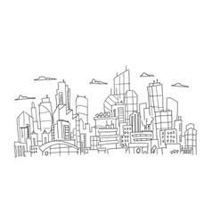 Big city panorama future sketch hand drawn vector
