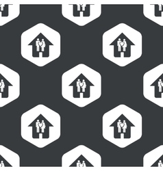 Black hexagon family house pattern vector image