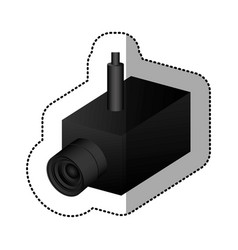 Black video camera interior icon vector