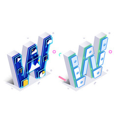 blue 3d isometric letter w made with virtual vector image