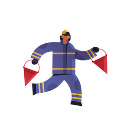 brave fireman holding red buckets firefighter vector image