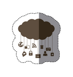Brown cloud data services apps vector