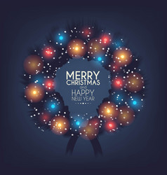 card with glowing christmas lights wreath vector image