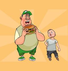 cartoon fat man eating a big burger vector image