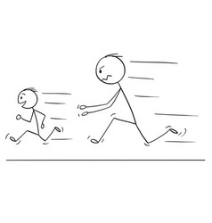 Cartoon of frustrated and angry father chasing vector