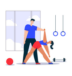 Character fitness in gym scene vector