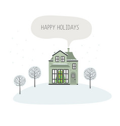 christmas card with house happy holidays vector image