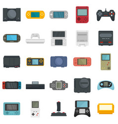 Console icons set flat style vector
