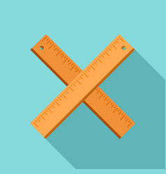 crossed wood ruler icon flat style vector image