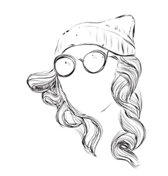Curly fashion woman in glasses vector image