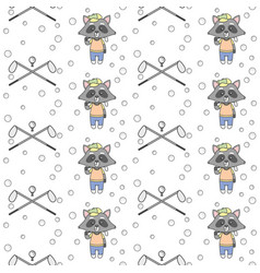 cute raccoons playing golf seamless pattern vector image