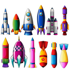 different designs for rockets vector image