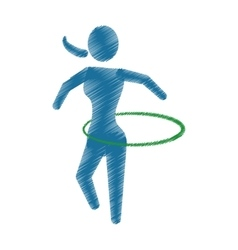 drawing colored silhouette woman physical exercise vector image