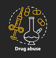 Drug abuse chalk concept icon narcotic opioid vector