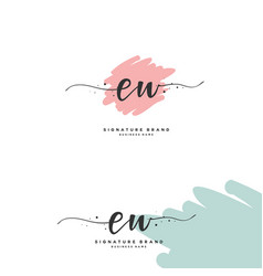 E w ew initial letter handwriting and signature vector