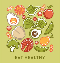 Eat healthy diet and dietary nutrition food vector