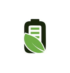 eco nature leaf and battery logo template vector image