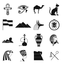 Egypt icons black vector