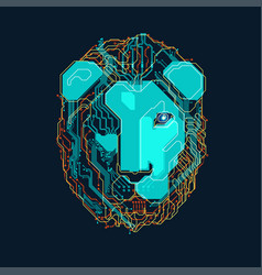 electronic lion vector image