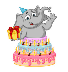 Elephant surprise from cake cartoon vector